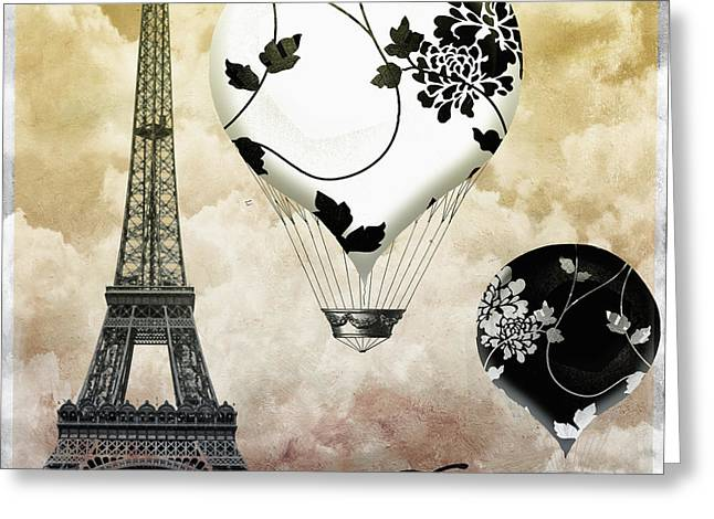 Paris Paintings Greeting Cards - Ceil Jaune II Vintage Hot Air Balloon Greeting Card by Mindy Sommers
