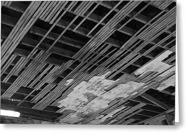 Ceiling Laths Bw Greeting Card by Jeff Roney