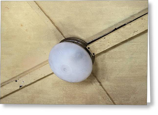 Ceiling Light On Antique Train Greeting Card by Gary Slawsky