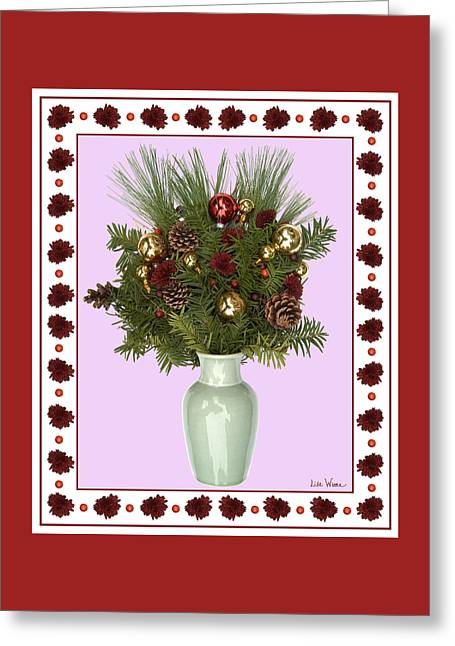 Celadon Vase With Christmas Bouquet Greeting Card by Lise Winne