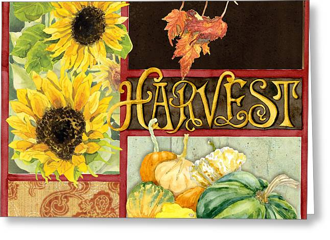 Celebrate Abundance - Harvest Fall Leaves Squash N Sunflowers W Paisleys Greeting Card by Audrey Jeanne Roberts