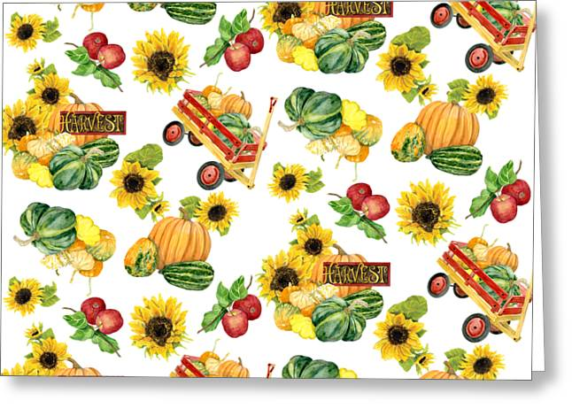 Sunflower Patch Greeting Cards - Celebrate Abundance Harvest Half Drop Repeat Greeting Card by Audrey Jeanne Roberts