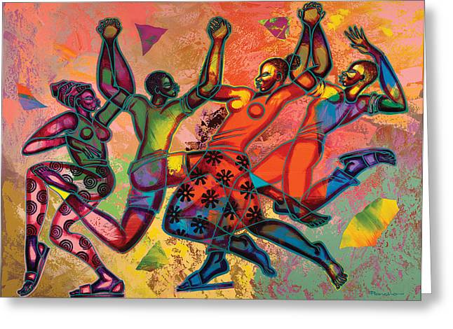 Africans Greeting Cards - Celebrate Freedom Greeting Card by Larry Poncho Brown