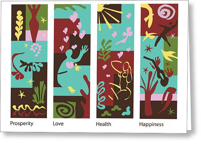 Celebrate Life 4 Panels Greeting Card by Xueling Zou