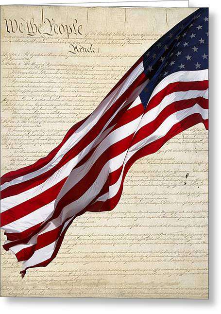 Flags Flying Greeting Cards - Celebrating the United Statrs of America Greeting Card by Linda Phelps