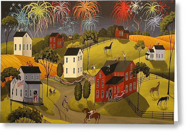 Folk Art Greeting Cards - Celebration Greeting Card by Debbie Criswell