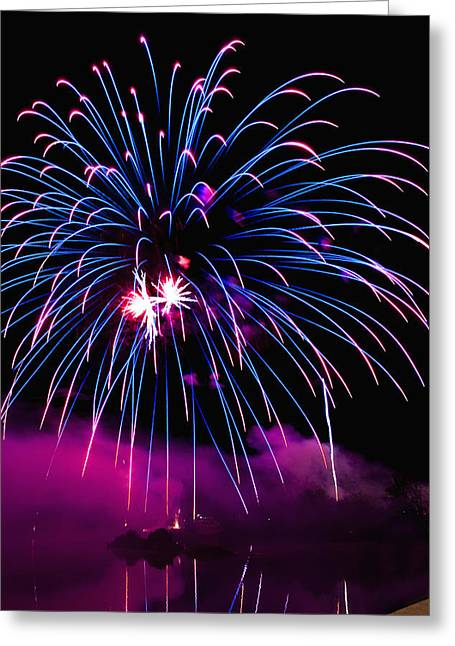 Purple Fireworks Greeting Cards - Celebration III Greeting Card by Greg Fortier