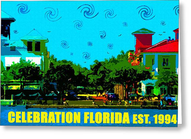 Planned Community Greeting Cards - Celebration Town Center swirling sky Greeting Card by David Lee Thompson
