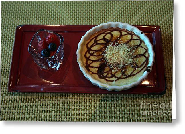 Brulee Greeting Cards - Celebrity Silhouette Creme Brulee Greeting Card by Ros Drinkwater