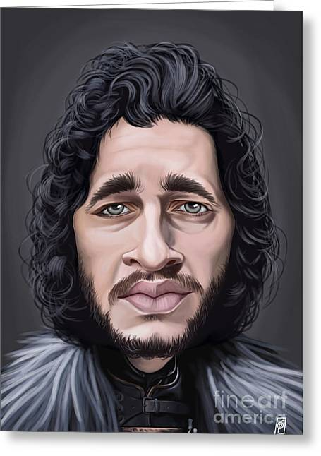 British Celebrities Greeting Cards - Celebrity Sunday - Kit Harington Greeting Card by Rob Snow
