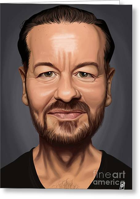 British Celebrities Drawings Greeting Cards - Celebrity Sunday - Ricky Gervais Greeting Card by Rob Snow
