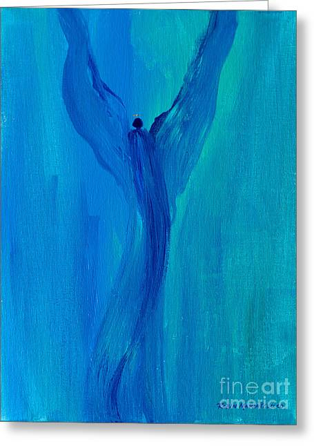 Angel Blues Greeting Cards - Celestial Angel Greeting Card by Robin Maria  Pedrero