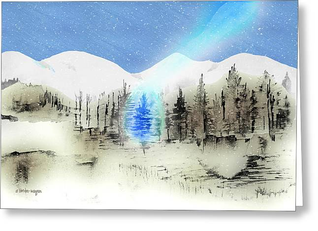 Fir Trees Greeting Cards - Celestial Beam Greeting Card by Arline Wagner