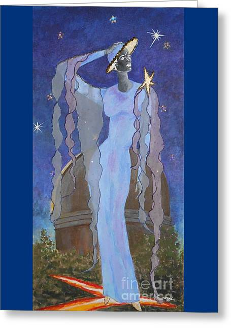 Stars Tapestries - Textiles Greeting Cards - Celestial Bodies Greeting Card by Jayne Somogy