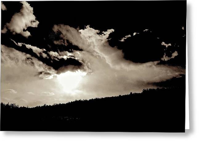 Turbulent Skies Greeting Cards - Celestial Drama Greeting Card by Elizabeth Tillar