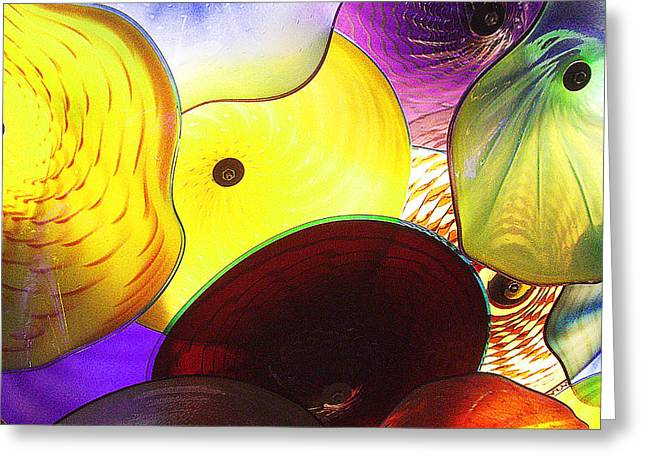 Purple Mushrooms Greeting Cards - Celestial Glass 1 Greeting Card by Xueling Zou