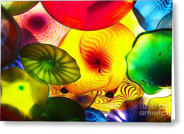 Purple Mushrooms Greeting Cards - Celestial Glass 2 Greeting Card by Xueling Zou