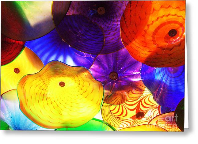 Purple Mushrooms Greeting Cards - Celestial Glass 3 Greeting Card by Xueling Zou