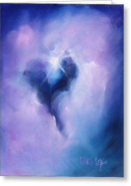 Nebula Paintings Greeting Cards - Celestial Heart Greeting Card by Sally Seago