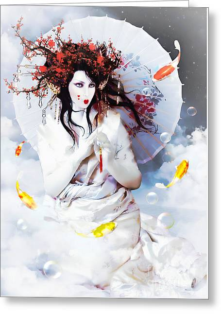 Lucky Greeting Cards - Celestial Koi Geisha Greeting Card by Shanina Conway