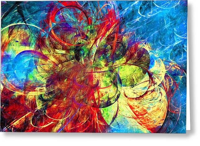 Wall Art For Your Home Greeting Cards - Celestial Moons Abstract Greeting Card by Georgiana Romanovna