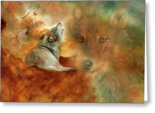 Celestial Wolves Greeting Card by Carol Cavalaris
