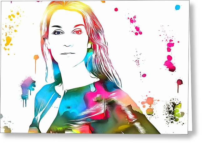 Empowering Greeting Cards - Celine Dion Paint Splatter Greeting Card by Dan Sproul