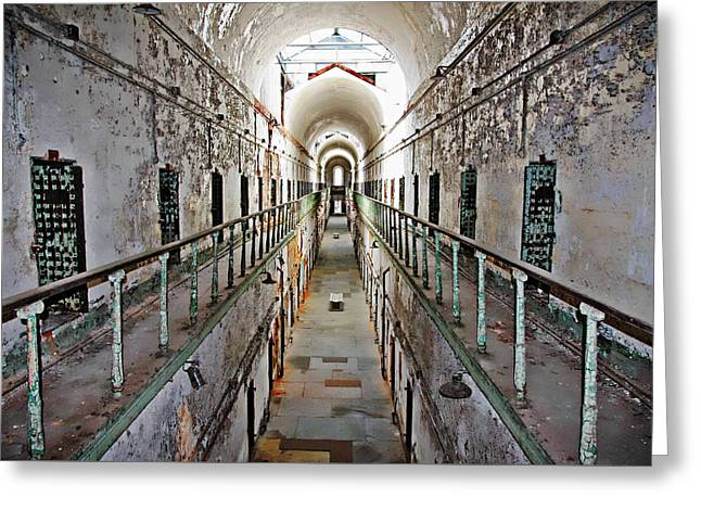 Philadelphia Tourist Site Greeting Cards - Cell Block 7  Greeting Card by Suzanne Stout