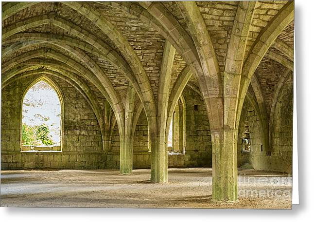 Historic Site Greeting Cards - Cellarium at Fountains Abbey Greeting Card by Patricia Hofmeester