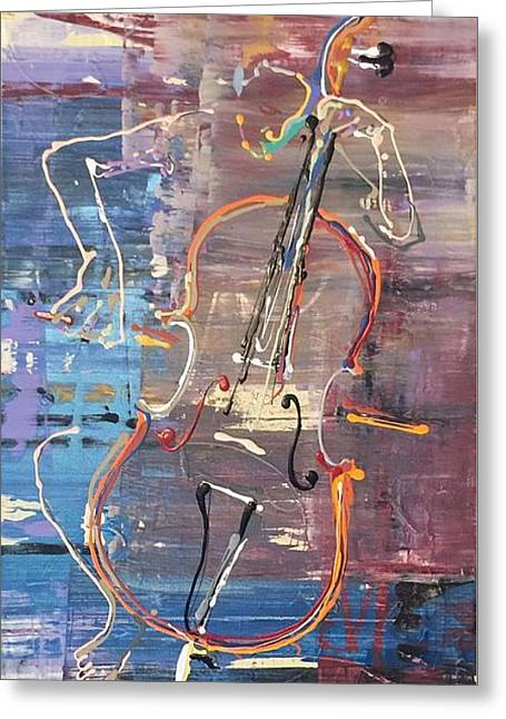 Synesthesia Greeting Cards - Cellist Greeting Card by Morgan Broker