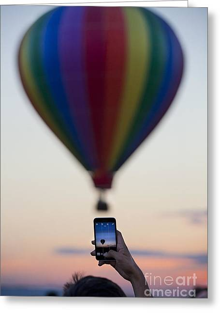Cellphone Greeting Cards - Cellphone picture of Hot Air Balloon Greeting Card by Anthony Totah