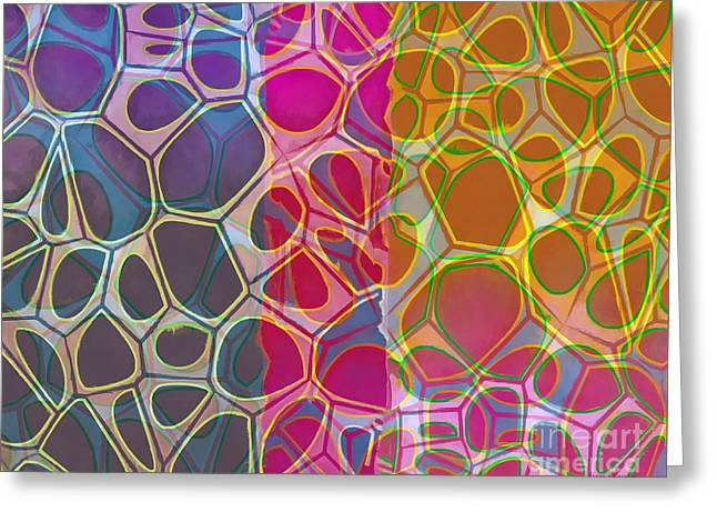 Cells 10 Abstract Painting Greeting Card by Edward Fielding