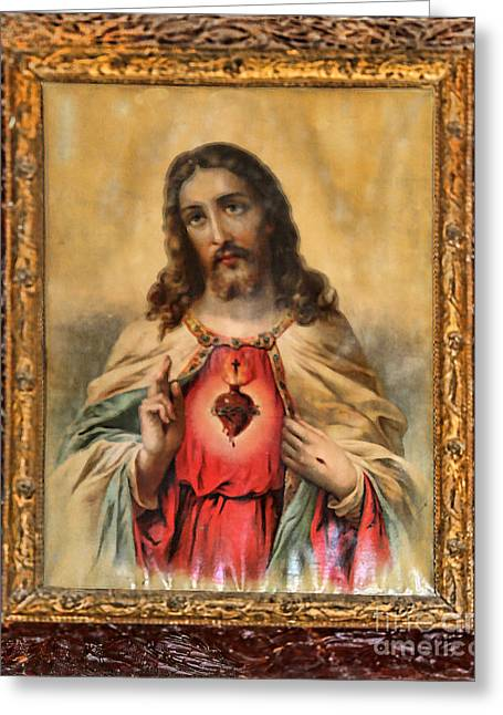 Old Barns Greeting Cards - Celoca Capilla San Antonio Jesus Cristo Greeting Card by Diana Sainz
