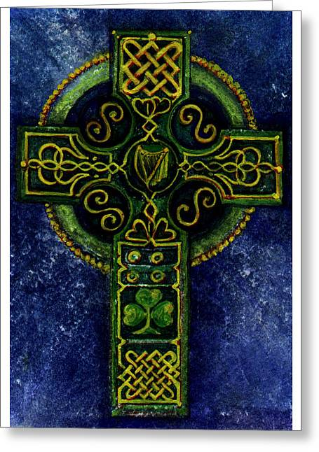 Celtic Cross - Harp Greeting Card by Elle Smith Fagan