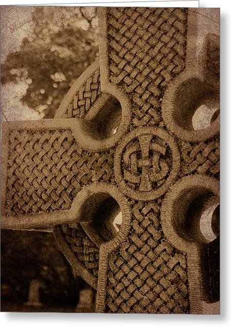 Eerie Greeting Cards - Celtic Cross 1 Greeting Card by Bernice Williams