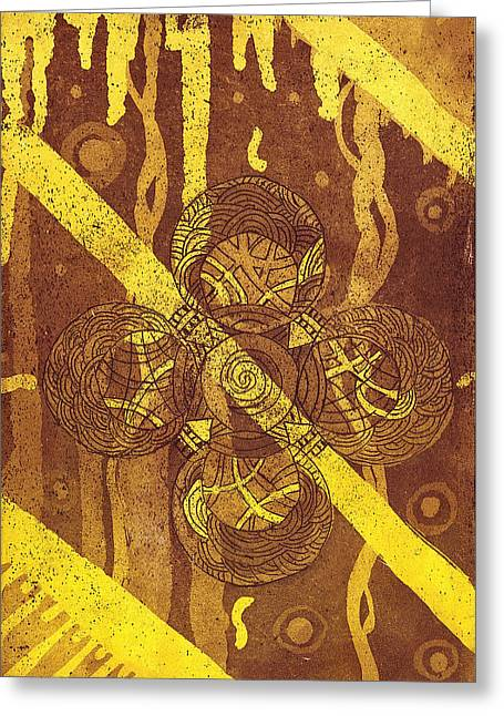 Religious Tapestries - Textiles Greeting Cards - Celtic Cross  2 Greeting Card by Tomislav Neely-Turkalj