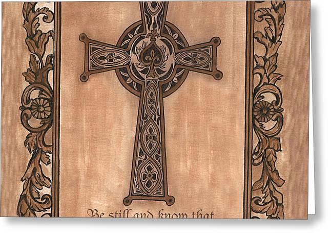Celtic Cross Greeting Card by Debbie DeWitt