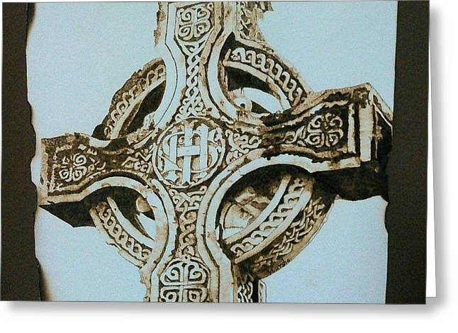 Religious ist Pyrography Greeting Cards - Celtic Cross Greeting Card by Marsha Wilson