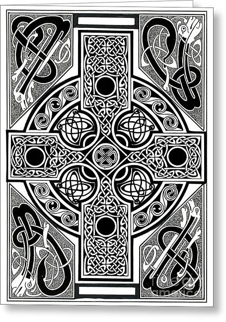 Celtic Cross Tapestry Greeting Card by Morgan Fitzsimons