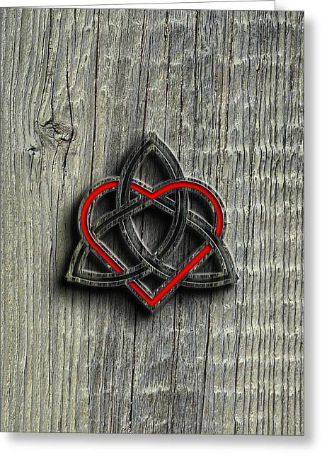 Mystic Art Greeting Cards - Celtic Knotwork Valentine Heart Wood Texture 2 Greeting Card by Brian Carson