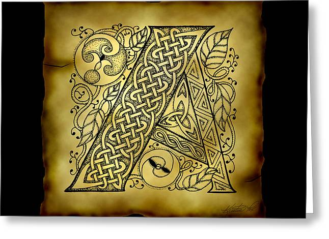 Hand Drawn Mixed Media Greeting Cards - Celtic Letter A Monogram Greeting Card by Kristen Fox