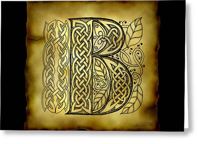 Hand Drawn Mixed Media Greeting Cards - Celtic Letter B Monogram Greeting Card by Kristen Fox