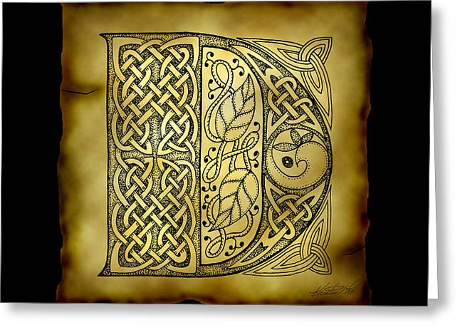 Hand Drawn Greeting Cards - Celtic Letter D Monogram Greeting Card by Kristen Fox