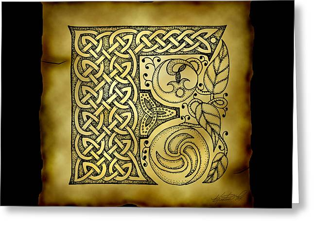 Hand Drawn Mixed Media Greeting Cards - Celtic Letter F Monogram Greeting Card by Kristen Fox