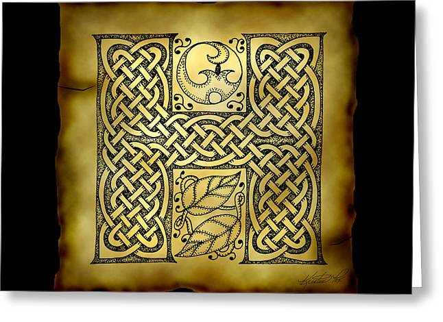 Hand Drawn Mixed Media Greeting Cards - Celtic Letter H Monogram Greeting Card by Kristen Fox