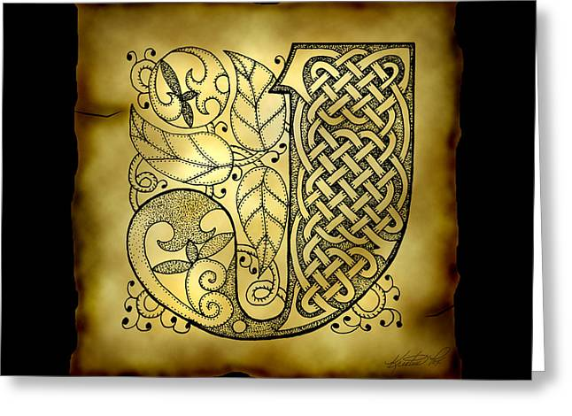 Hand Drawn Mixed Media Greeting Cards - Celtic Letter J Monogram Greeting Card by Kristen Fox