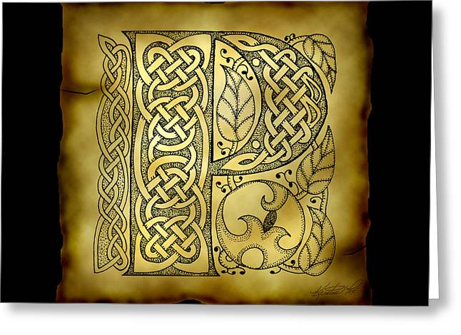 Hand Drawn Mixed Media Greeting Cards - Celtic Letter P Monogram Greeting Card by Kristen Fox