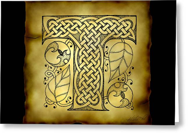 Hand Drawn Mixed Media Greeting Cards - Celtic Letter T Monogram Greeting Card by Kristen Fox