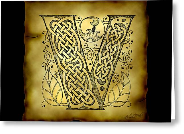 Hand Drawn Mixed Media Greeting Cards - Celtic Letter V Monogram Greeting Card by Kristen Fox