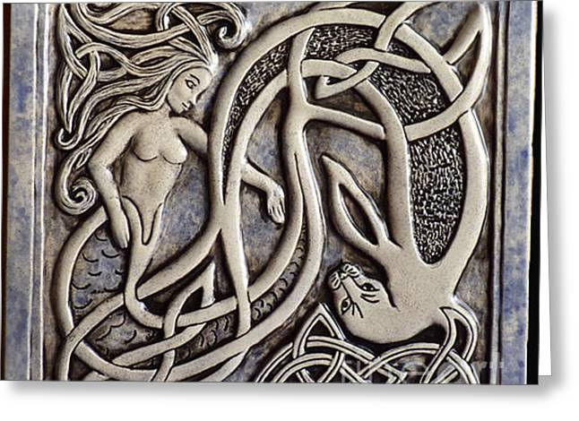 Ceramic Ceramics Greeting Cards - Celtic mermaid and seal tile Greeting Card by Shannon Gresham